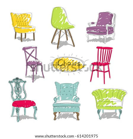 Royalty Free Stock Illustration Of Sketch Different Types Chairs