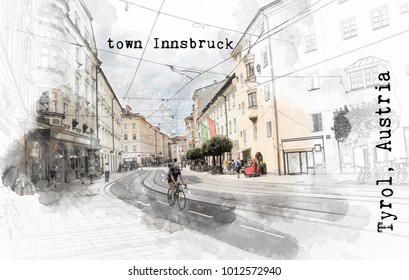 sketch digital illustration of Austrian travel place