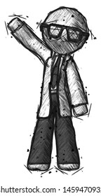 Sketch Doctor Scientist man waving emphatically with right arm