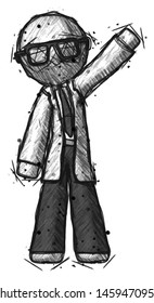 Sketch Doctor Scientist man waving emphatically with left arm