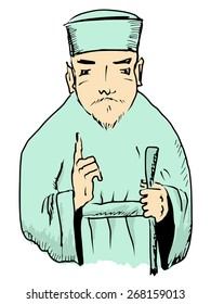 sketch, doodle illustration of Chinese wise man