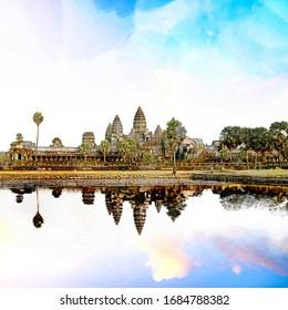 Sketch and Drawing with color marker pen of Angkor Wat and reflecting lake in sunset, Siem Reap, Cambodia
