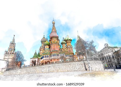 Sketch and Drawing with color marker pen of St. Basil's Cathedral and Kremlin Walls and Tower in Red square, Red square is Attractions popular's touris in Moscow,Russia,