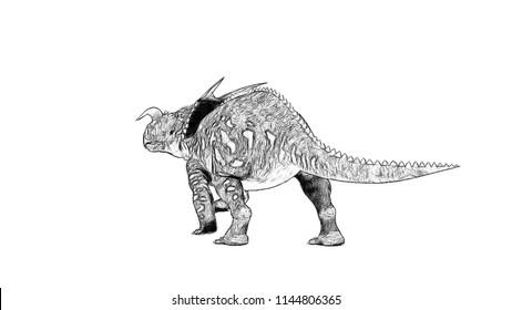 sketch of einiosaurus isolated on white