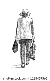Sketch of an elderly woman in a hat going from a store