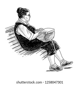 Sketch of an elderly woman resting on a park bench