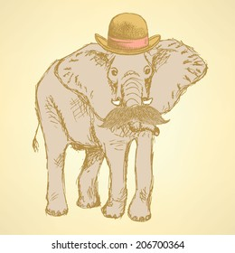 Sketch elephant in hat with mustache, hipster background