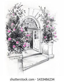 sketch of the entrance to the victorian building with rosebushes on the sides, hand drawn