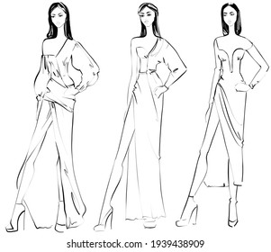 Sketch. Fashion Illustration on a white background. Woman in evening dress