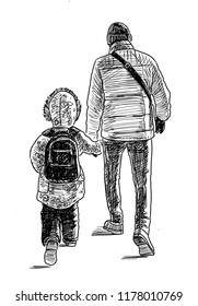 Sketch of a  father with his kid going on a walk