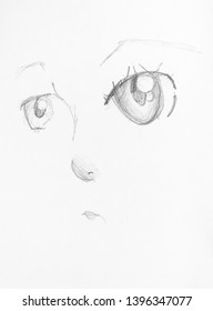 sketch of female anime face with large eyes hand-drawn by black pencil on white paper