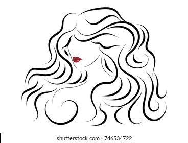 Sketch female image - long wavy hair - - isolated on white background - art  bitmap image
