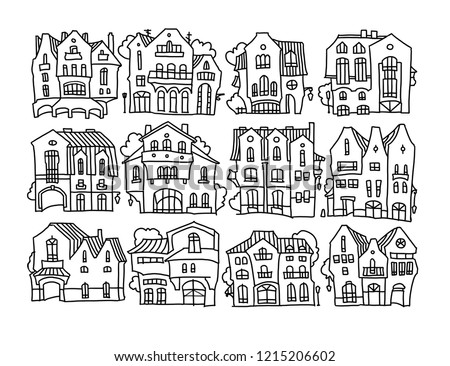 Sketch Funny Houses Made Cartoon Style Stock Illustration 1215206602