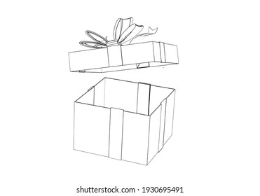 Sketch Gift Box with Ribbon and Bow