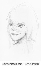 sketch of girl's head with smiling face in anime style hand-drawn by black pencil on white paper
