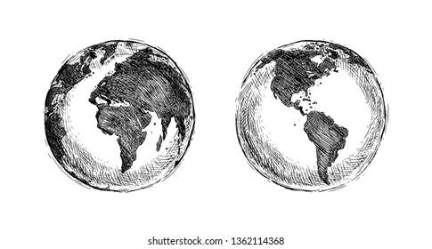 Sketch Globe Illustration. Planet Earth. Hand drawn illustration.
