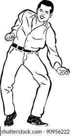 a sketch of a guy singing and dancing the twist