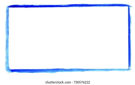 Sketch of hand painted blue watercolor frame