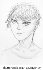 sketch of happy teenager with short hair in anime style hand-drawn by black pencil on white paper