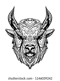 Sketch head buffalo bull, aurochs, bison on a white background. Black and white drawing ink illustration. Printing on T-shirts, stickers, tattoos and postcards