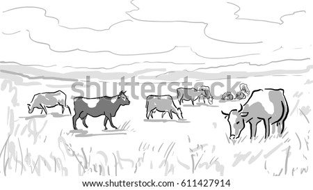 Royalty Free Stock Illustration Of Sketch Herd Cows On Pasture