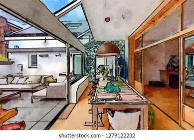 sketch of home city garden  in watercolor style