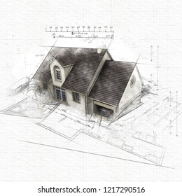Sketch of a house with garage on top of blueprints