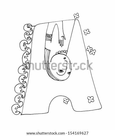 Sketch Illustration Alphabet Letter Womens Faces Stock Illustration