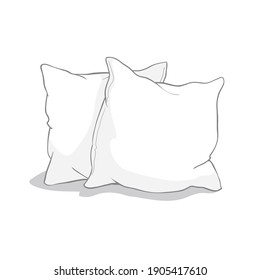 sketch illustration of pillow isolated on white background