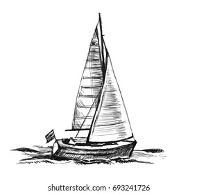 Sketch illustration. Sailingboat. Sea yacht floats on the surface of the water.