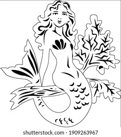 Sketch of the image of a mermaid on the white background