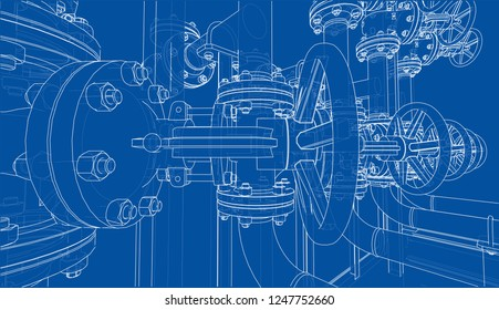 Sketch of industrial equipment. 3d illustration. Wire-frame style