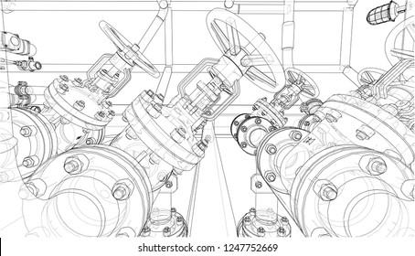 V 8 Car Engine Cartoon Illustration Outline Stock Illustration