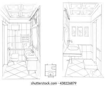 sketch of interior bathroom handmade graphics