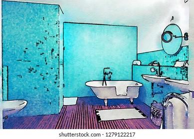 sketch of interior of bathroom  in watercolor style