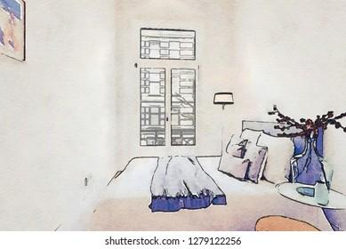 sketch of interior of bedroom  in watercolor style