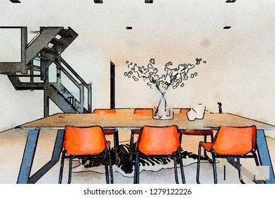 sketch of interior of dining room  in watercolor style