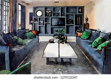 sketch of interior of livingroom  in watercolor style