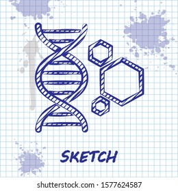 Sketch line Genetic engineering icon isolated on white background. DNA analysis, genetics testing, cloning, paternity testing.