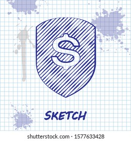 Sketch line Shield and dollar icon isolated on white background. Security shield protection. Money security concept.