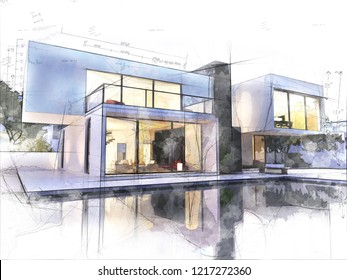 Sketch of a luxurious modern house surrounded by a pool
