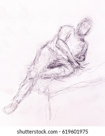 sketch man. pencil drawing on old paper.