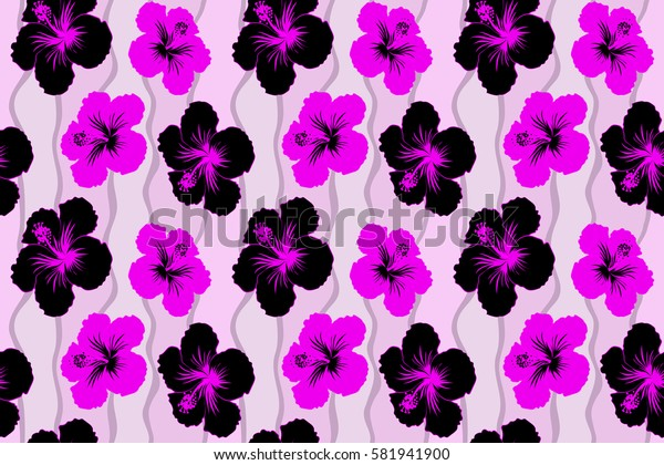 Sketch of many black and magenta flowers. Hand drawn seamless flower illustration. Seamless pattern of black and magenta hibiscus floral background.