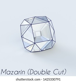 Sketch of a mazarin cut diamond with a title on white background. 3D illustration