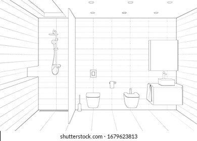 Sketch of minimalist modern shower room with a daylight lamp in the ceiling, shower, toilet, bidet, washbasin, mirror. Front view. 3d render