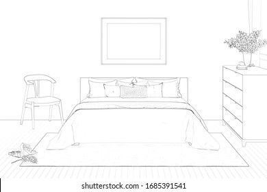 A sketch of the modern romantic bedroom with a window, flowers, a horizontal poster under the bed with plaid and pillows. Front view. 3d render