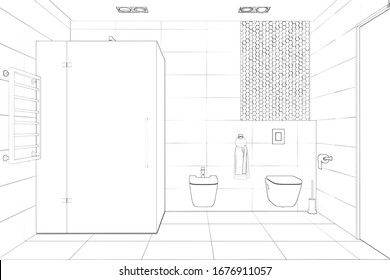 A sketch of a modern toilet with shower, toilet, bidet and door. Front view. 3d render