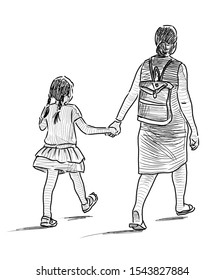 Sketch of mother with her little daughter going on a stroll on summer day