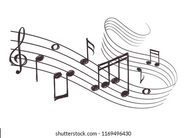 Sketch musical sound wave with music notes. Hand drawn illustration. Music note doodle and audio record