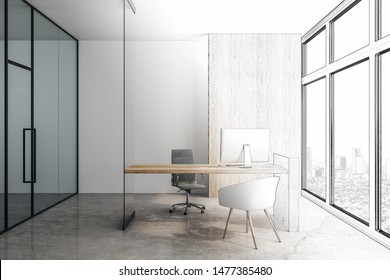Sketch of new modern office project with glass wall, concrete floor and wooden table in skyscraper at painted city background. 3D Rendering